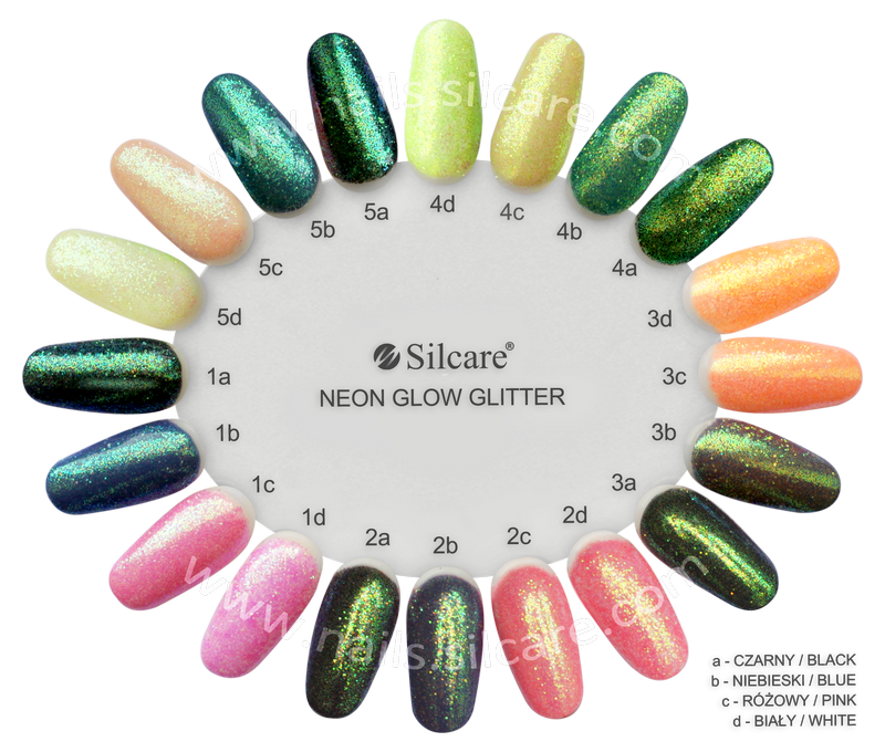 SILCARE_MANICURE_DECORATING_MATERIALS_GLITTER_NEON_GLOW_CHART